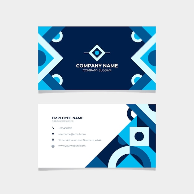 Stationery classic blue business card Free Vector