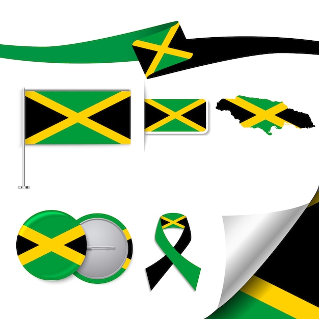 Stationery Collection With The Flag Of Jamaica Design Vector
