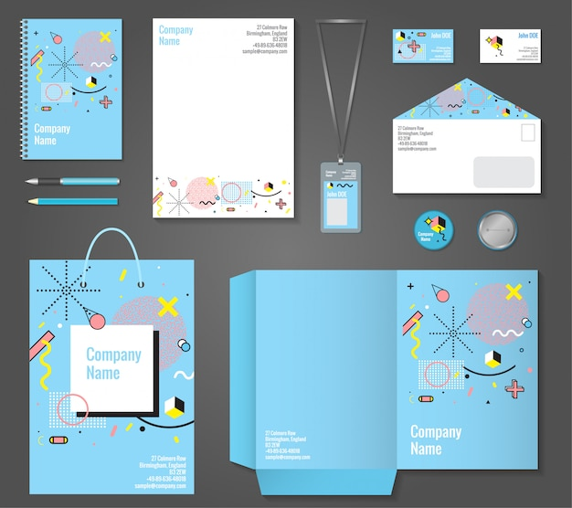 Stationery corporate identity memphis style Free Vector