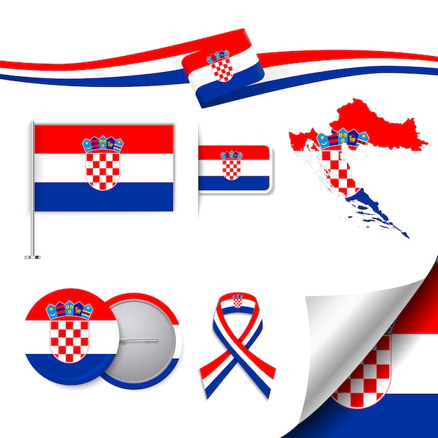 Stationery elements collection with the flag of croatia design Free Vector