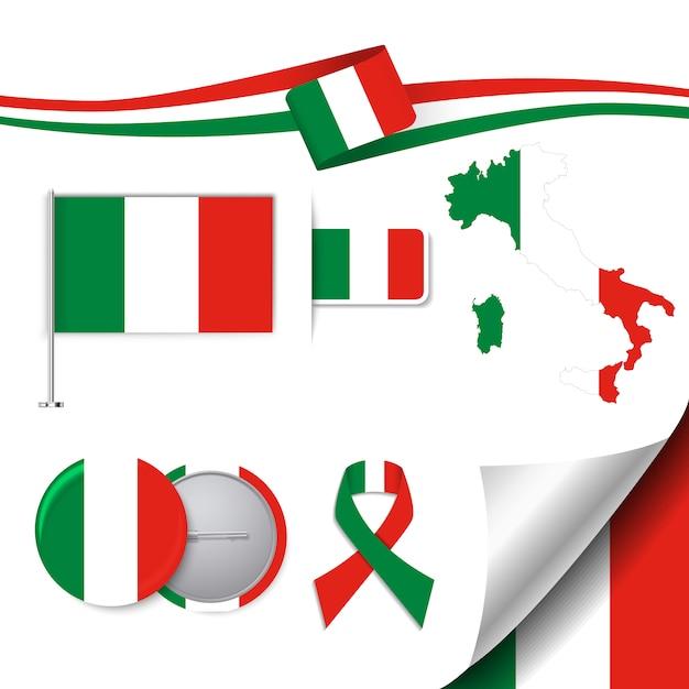 Collezione di elementi di cancelleria con la bandiera del design italiano Vettore gratuito
