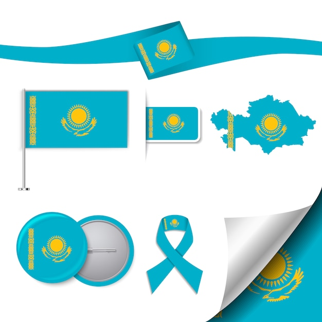 Stationery elements collection with the flag of kazakhstan design Free Vector