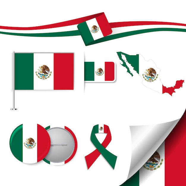 Stationery elements collection with the flag of mexico design Free Vector