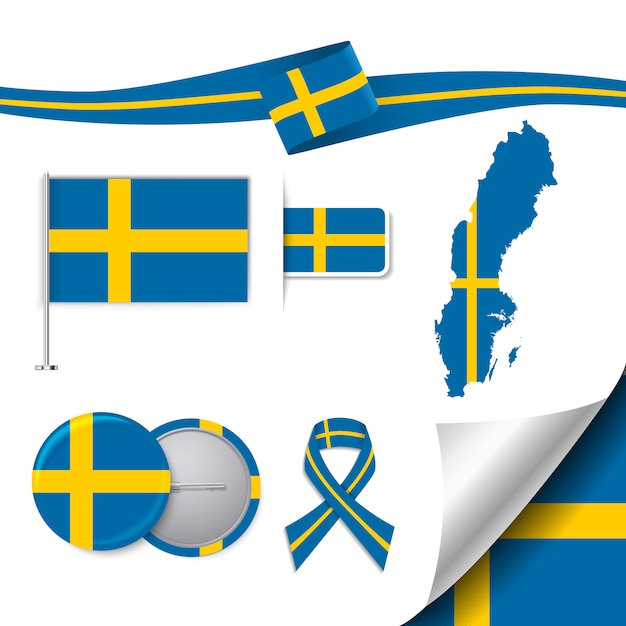 Stationery elements collection with the flag of sweden design Free Vector
