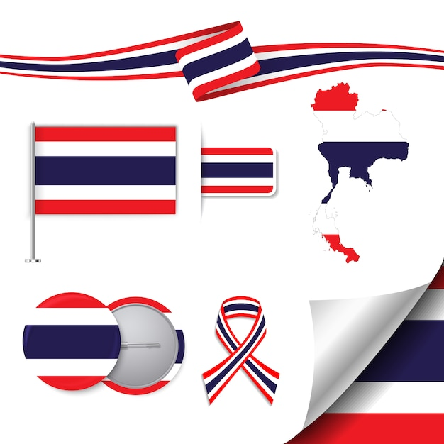 Stationery elements collection with the flag of thailand design Free Vector