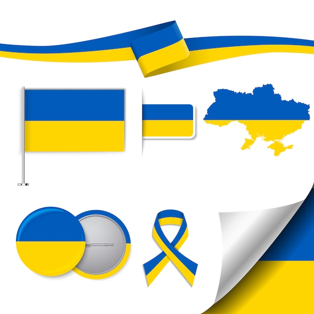 Stationery elements collection with the flag of ukraine design Free Vector