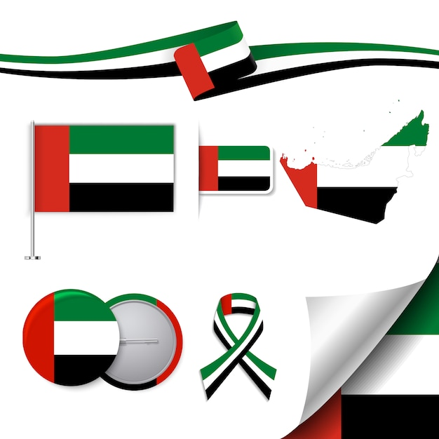 Stationery elements collection with the flag of the united arab emirates design Free Vector
