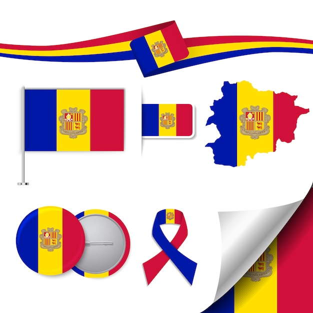 Stationery elements collection with the flag of andorra design