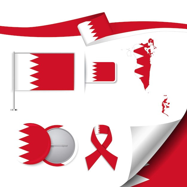 Stationery Elements Collection With The Flag Of Bahrain Design