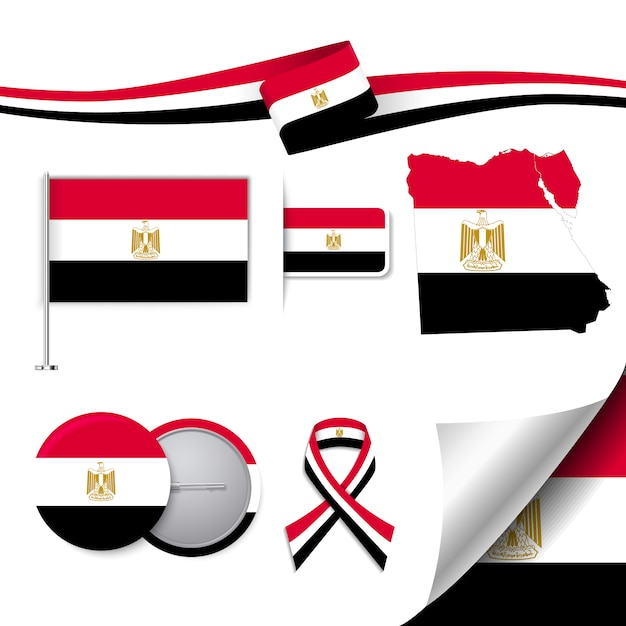 Stationery elements collection with the flag of egypt design Free Vector