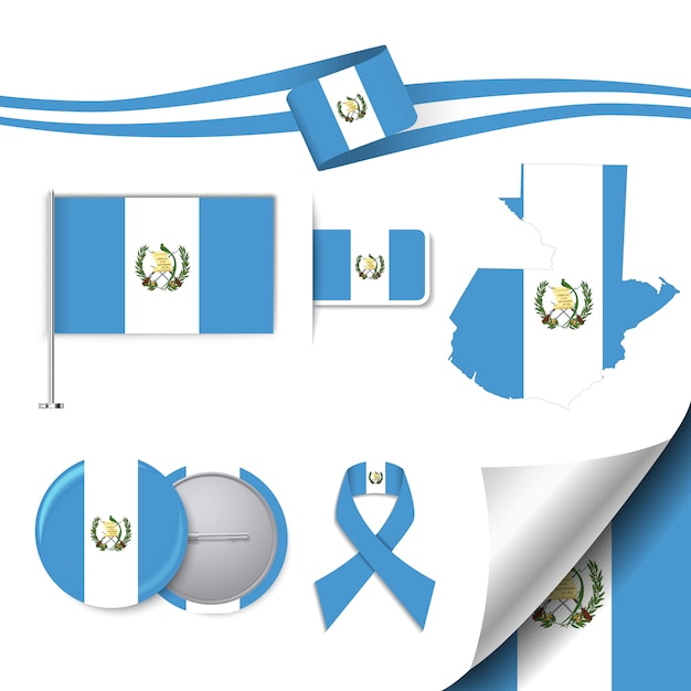 Stationery elements collection with the flag of guatemala design Free Vector