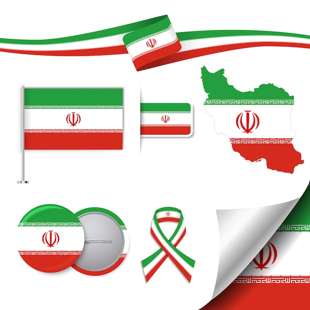 Stationery elements collection with the flag of iran design Free Vector