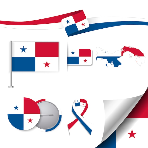 Stationery elements collection with the flag of panama design Free Vector
