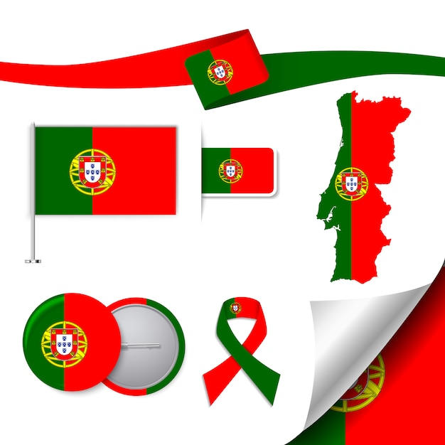 Stationery elements collection with the flag of portugal design Free Vector