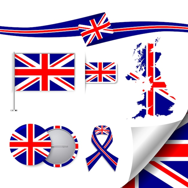 Stationery elements collection with the flag of united kingdom design Free Vector