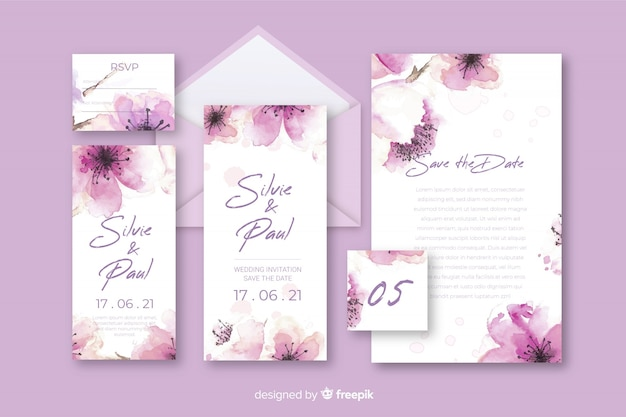 Stationery floral letter and envelope for wedding in violet shades Free Vector