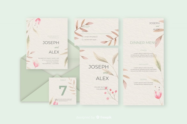 Stationery letter and envelope for wedding in green shades Free Vector