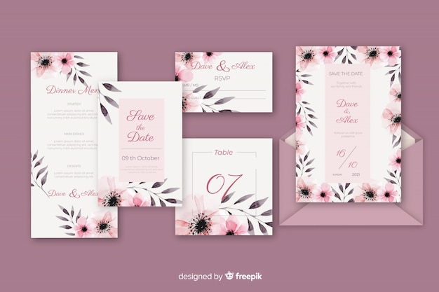 Stationery letter and envelope for wedding in violet shades Free Vector