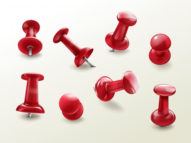 Stationery office thumbtack, realistic set of red glossy push pins for fixing on board remind Free Vector