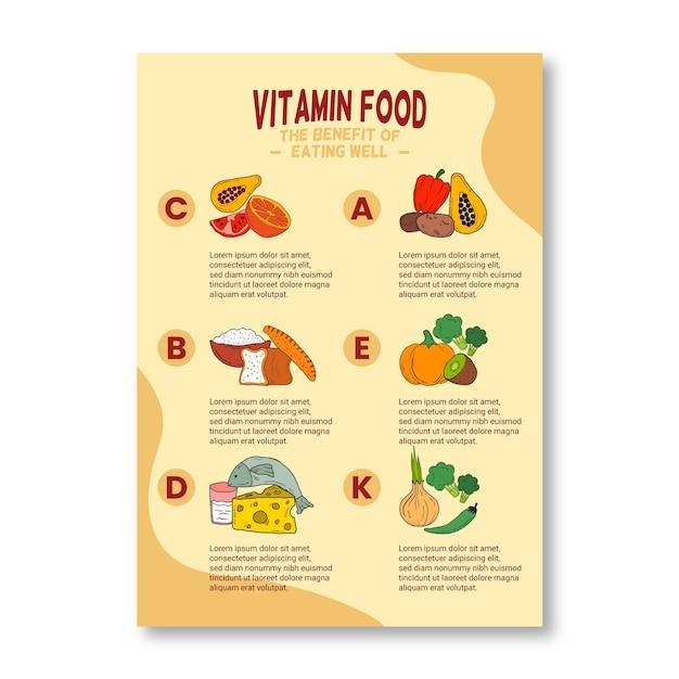 Канцтовары плакат витаминной пищи инфографики Бесплатные векторы
