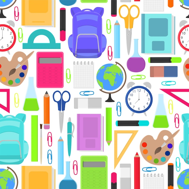 Stationery for school seamless pattern Premium Vector