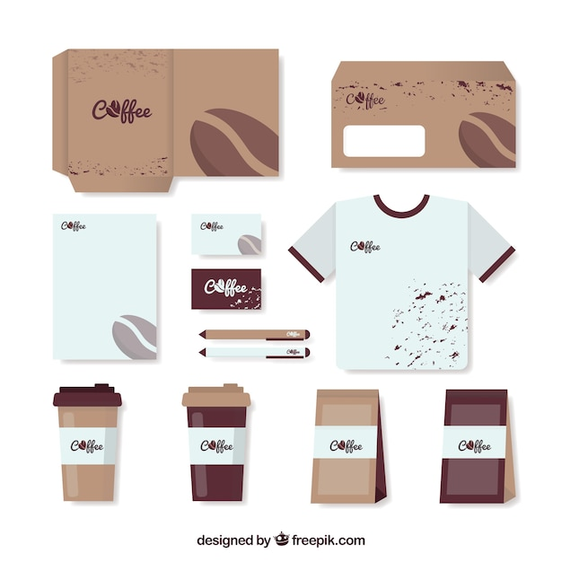 Shop Accessories: Stationery Set And Accessories For Coffee Shop Vector