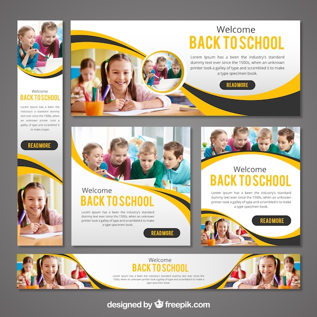 Stationery set of back to school banners Free Vector