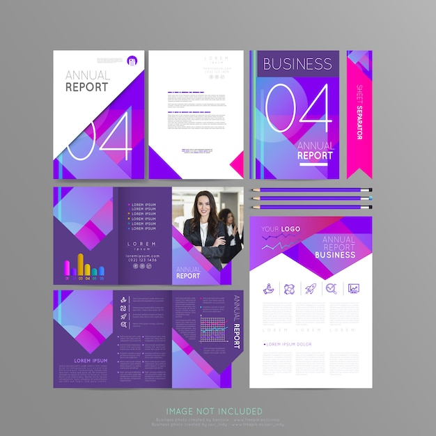 Stationery violet for your business Premium Vector