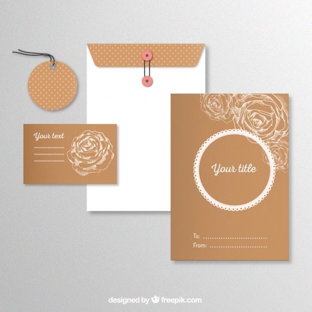 Stationery with sketchy roses Free Vector