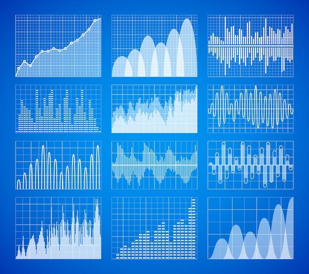 Statistic, business data graphs Premium Vector