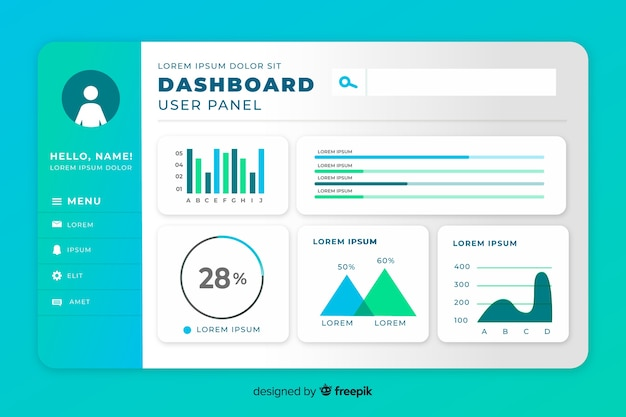 Statistic set of elements dashboard template Free Vector