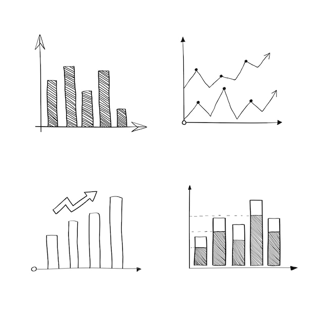 Statistical analysis graphs Free Vector