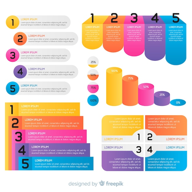 Statistical infographic templates in gradient shades Free Vector