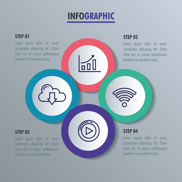 Statistical infographic with set icons Premium Vector