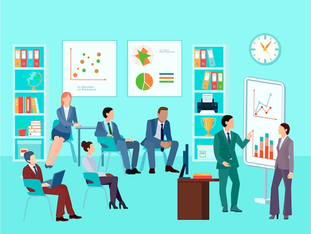 Statistics analytics business worker characters meeting composition with staff working session Free Vector