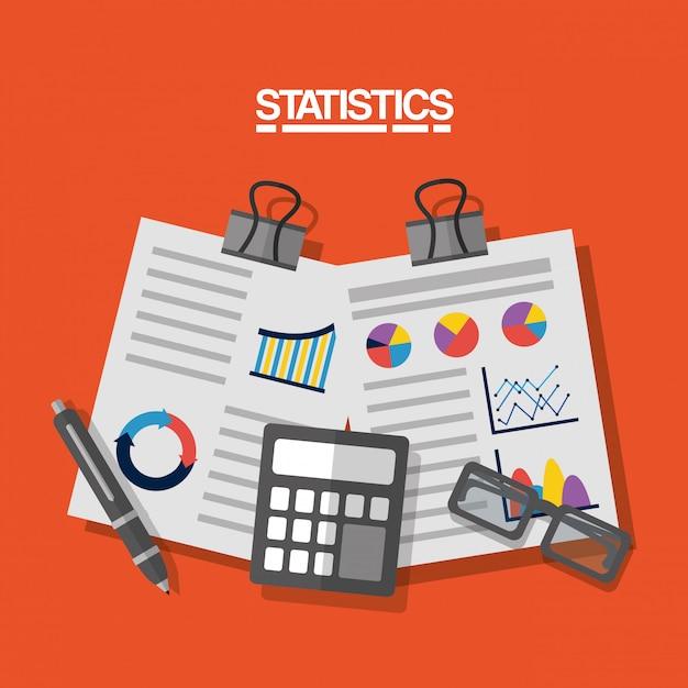 Statistics data business image illustration Free Vector