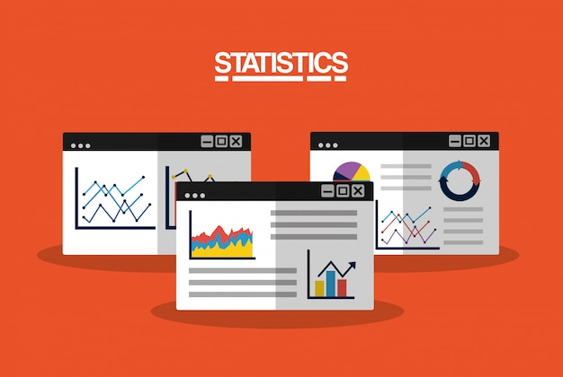 Statistics data business image illustration Free Vector