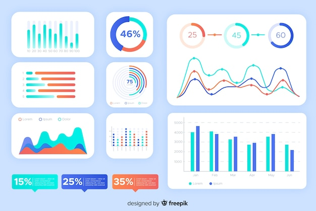 Statistics and graphics dashboard element collection Free Vector