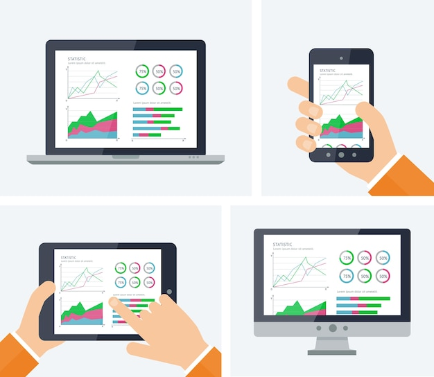 統計学。デバイスの画面上のグラフとチャートの要素を持つインフォグラフィック。 Premiumベクター