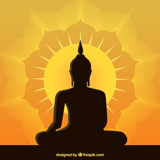 Statue of buddha background in flat style Free Vector