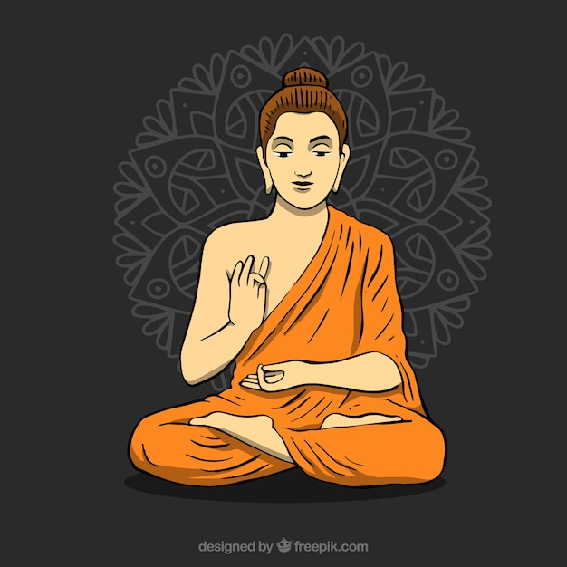 Statue of buddha background Free Vector