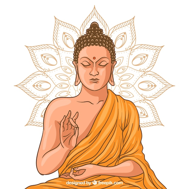 Statue of buddha in golden style Free Vector