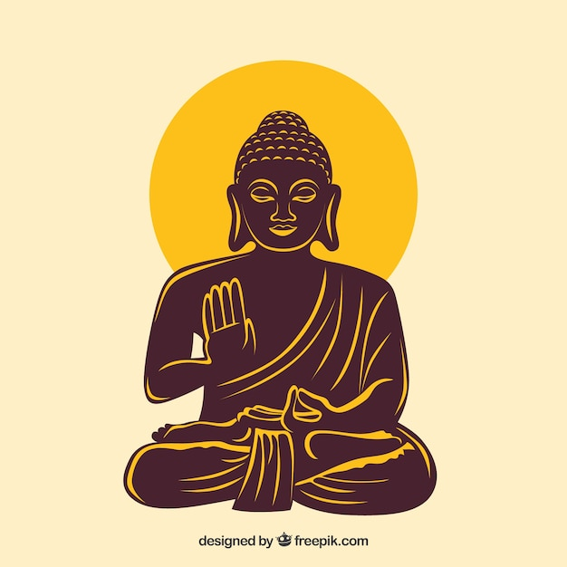 Statue of buddha in hand drawn style Free Vector