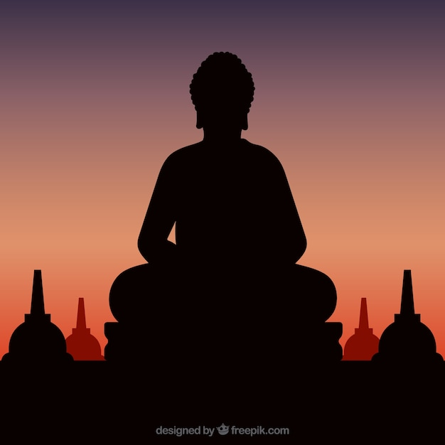 Statue of buddha silhouette with sunset Free Vector