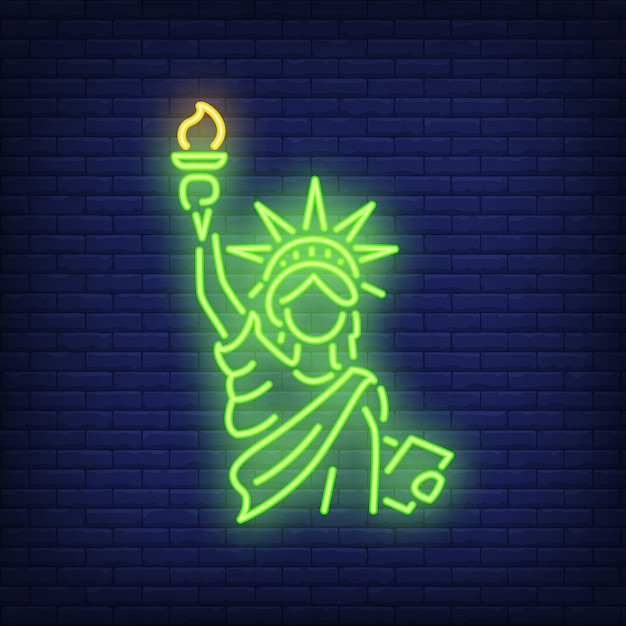 Statue of liberty on brick background. neon style illustration. new york, manhattan Free Vector