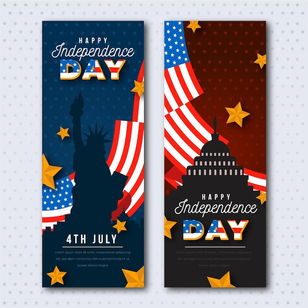 Statue of liberty and flags independence day banners Free Vector