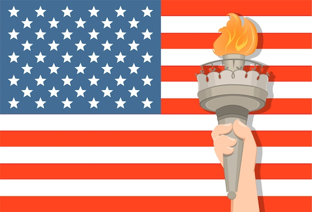 Statue of liberty hand with torch and usa flag Premium Vector