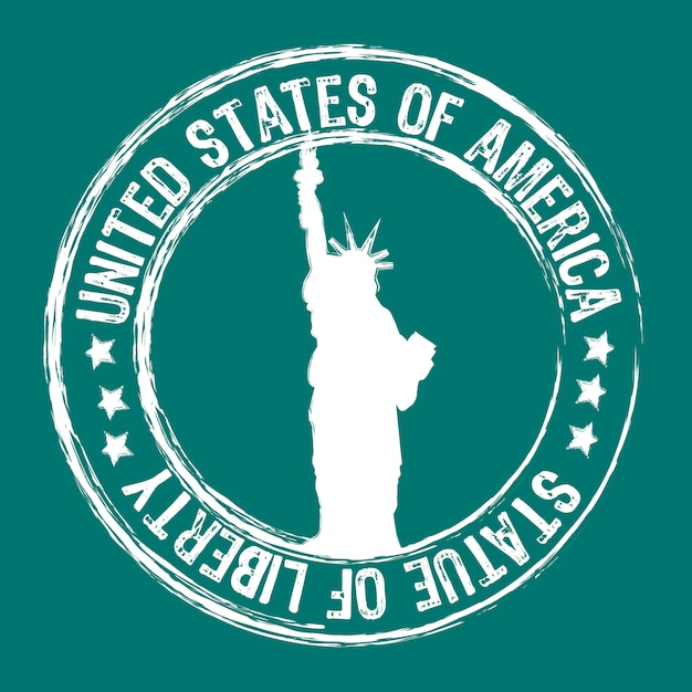 Statue of liberty stamp isolated Premium Vector