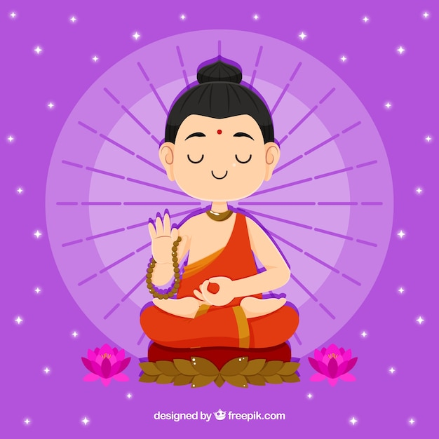 フラットスタイルの仏陀の背景の像 無料ベクター