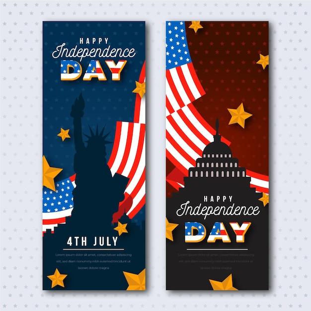 Статуя свободы и флаги дня независимости баннеры Бесплатные векторы